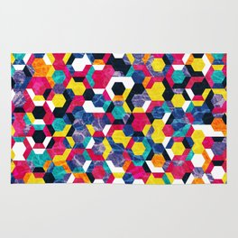 Colorful Half Hexagons Pattern #06 Rug