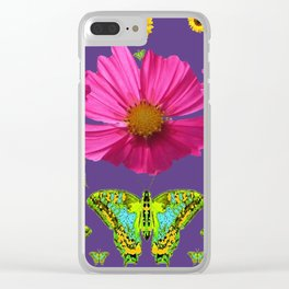FUCHSIA COSMO FLORALS GREEN MOTHS SUNFLOWERS Clear iPhone Case