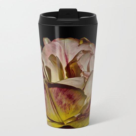Bright Pink Tulip On Black Metal Travel Mug