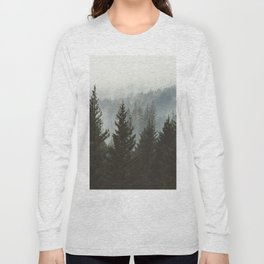 Forest Fog Mountain IV - Wanderlust Nature Photography Long Sleeve T-shirt