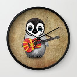 Baby Penguin Playing Macedonian Flag Acoustic Guitar Wall Clock