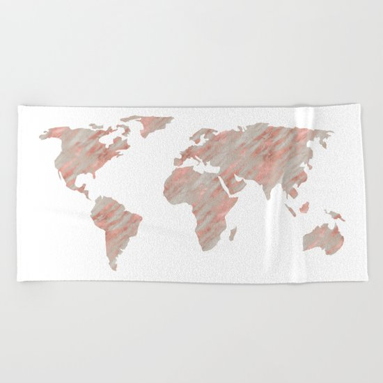 World Map Marble Rose Gold Beach Towel