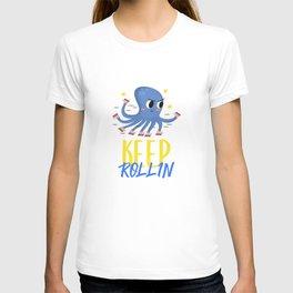 Lustiger Oktopus Tintenfisch Kalmar auf Rollschuhen Skater T-shirt