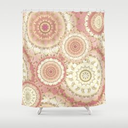 Delicate Gold Rose Mandala Pattern Shower Curtain