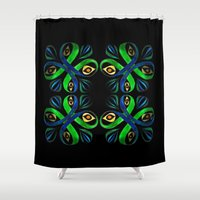 poison ivy Shower Curtains featuring Poison Ivy by Pani Grafik