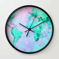 wanderlust Wall Clocks featuring Wanderlust by ALLY COXON