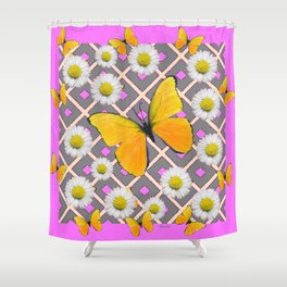 Yellow Butterfly on Lilac-pink Shasta Daisy Grey Pattern Shower Curtain