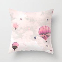 Hot air balloons, violet II Throw Pillow
