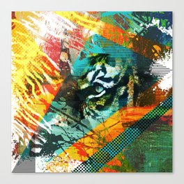 Bengal Tiger in  Abstract Paint Digital art Canvas Print
