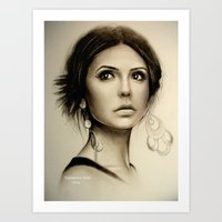 vampire diaries Art Prints featuring Nina Dobrev The Vampire Diaries  by Yuliya  Talanova