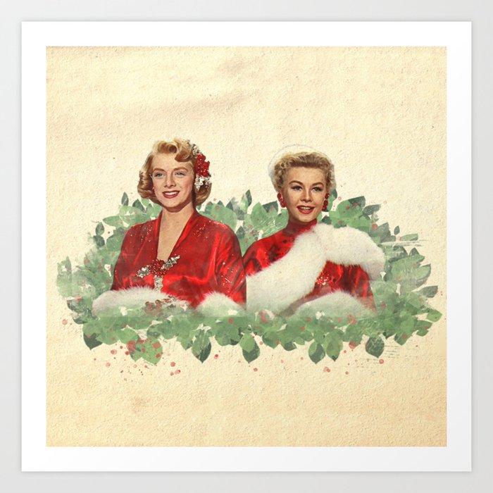 Sisters - A Merry White Christmas Art Print
