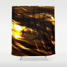 Saturated copper and smooth sparkling lines of black tapes on the theme of space and abstraction. Shower Curtain