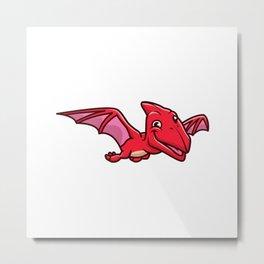 Cute Pterodactyl Flying Cartoon Icon Illustration Animal Dinosaur Icon Concept Isolated Flat Cartoon Metal Print