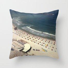 Tel-Aviv beach at summer, high from above, Israel, scaned sx-70 Polaroid Throw Pillow