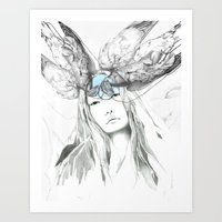 pigeon Art Prints featuring Pigeon by Francesca Hooper