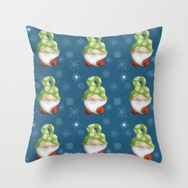 Blue Winter Gnome Pattern Throw Pillow