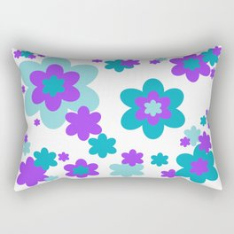 Turquoise Teal Blue and Purple Floral Rectangular Pillow