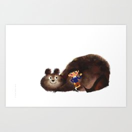 Hello There Messy Bear Art Print