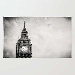 Flight Over London (black and white) Rug