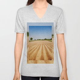 Ploughed agriculture field empty Unisex V-Neck