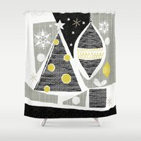 50s Shower Curtains featuring achromatic holidays by ottomanbrim