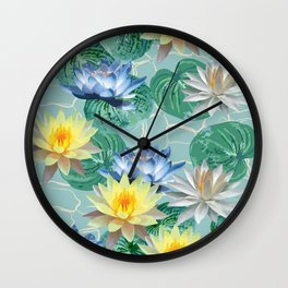 seamless pattern ot beautiful lotuses Wall Clock