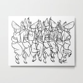 Japanese Awa Dancers  Abstract Monochromatic Metal Print