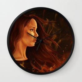 Girl in Flames Wall Clock