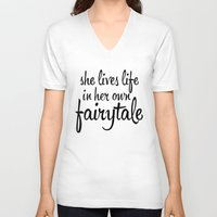 fairytale V-neck T-shirts featuring FAIRYTALE by stephanie nichole
