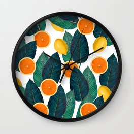 Lemons And Oranges On White Wall Clock