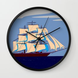 A Clipper Ship with Gray Skies, Sunset Wall Clock