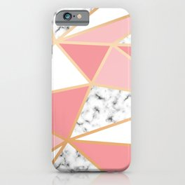 Dusty Pink, Peach, White and Marble Triangles iPhone Case