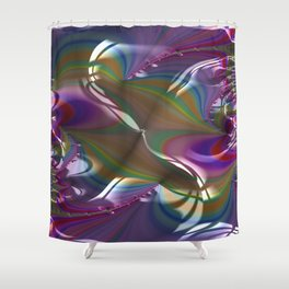 Engraved Flagship Fractal - Abstract Art Shower Curtain