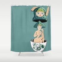 russian Shower Curtains featuring Russian matryoshka  by Evgeniya Olegovna