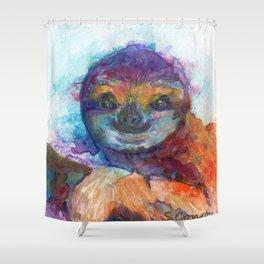 Sloth Mixed Media on Yupo Shower Curtain