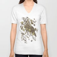 moth V-neck T-shirts featuring Great Horned Owl by Teagan White