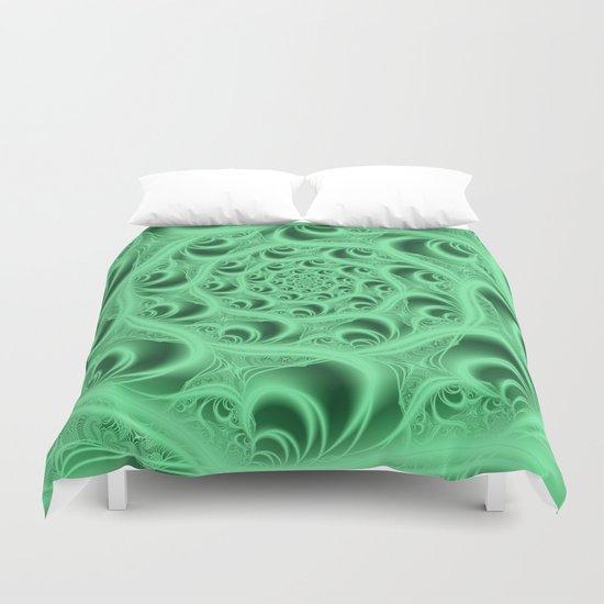 Fractal Web in Flourescent Green Duvet Cover