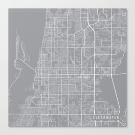 Clearwater Map, Florida USA - Pewter Canvas Print