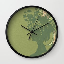 Garden Hat Chic:  Stylish Lady in hat silhouette with olive green and a bit of pink Wall Clock