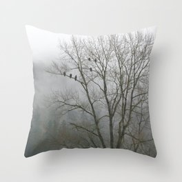 Bald Eagles in Tree in Misty Valley Throw Pillow