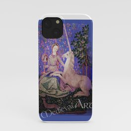 Medieval Art - Lady and the Unicorn in Intense Blue iPhone Case
