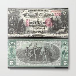 1875 Series U.S. Federal Reserve Five Dollar Bank of Deadwood - Christopher Columbus in Sight of Lan Metal Print