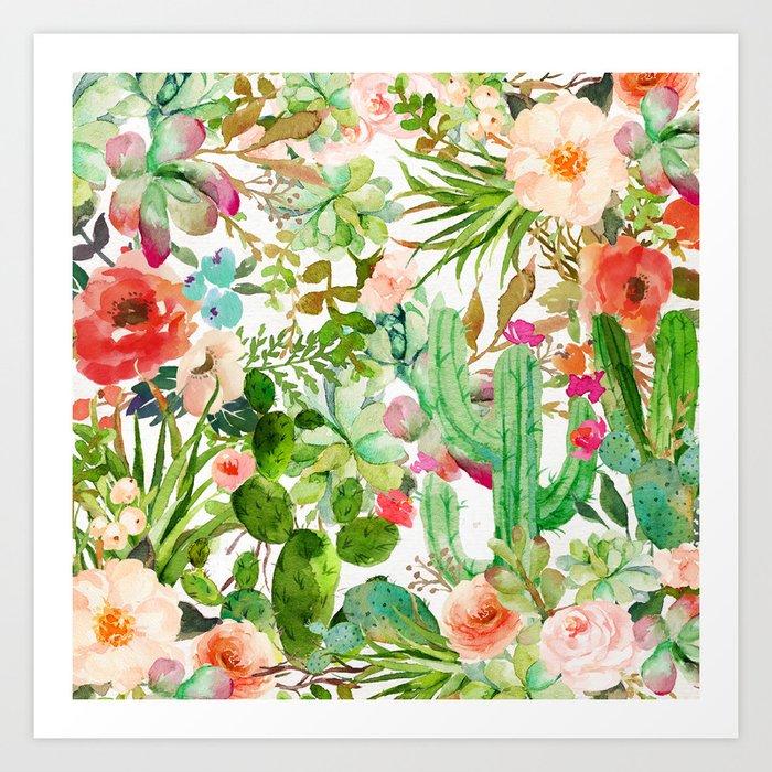 Cactus Floral Collage Art Print