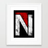 n7 Framed Art Prints featuring N7 new logo by BomDesignz