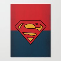 dc comics Canvas Prints featuring Super Man Logo Minimalist Art Print DC Comics by The Retro Inc