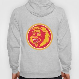 Angry Lion Head Roar Circle Retro Hoody