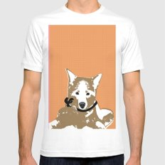 Akita Dog Illustration MEDIUM White Mens Fitted Tee