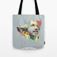 tim shumate Tote Bags featuring Tim Maia by Carlos Quiterio