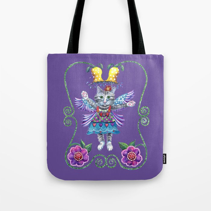 Angel Kitty (Purple) Tote Bag