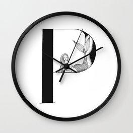 Mermaid Alphabet Series - P Wall Clock